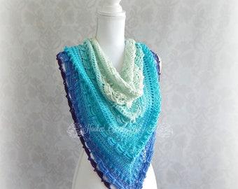Crochet Turquoise shawl, Shawl with beads, Triangle shawl, Womens wrap, Wedding Shawl, Mother of the bride, Summer Shawl, Large shawl