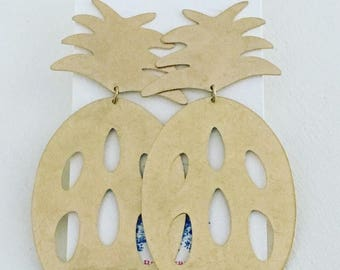 GOLD Pineapple Earrings | statement earrings, lightweight, post earrings