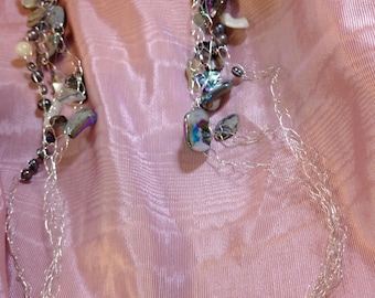 Crocheted Shell and Mother of Pearl Necklace