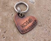 Copper Heart Dog Tag for Dogs - Personalized Pet ID Tag - Dog Name Tag - Custom Dog Collar Tag - Puppy Collar Tag - Copper Pet Tag - Rosie