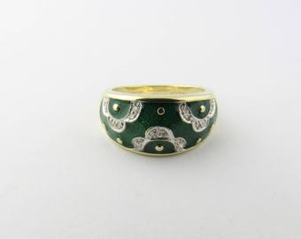 Vintage 14K Yellow Gold Green Enamel and Diamond Ring #2329
