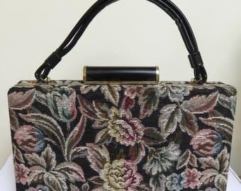 Vintage 1960's Floral Tapestry Top Handle Box Bag