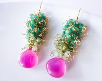 Emerald Earrings, Pink Green Earring Emerald Gemstone Earrings Emerald Cluster Earring Gold Filled Earring Green Tourmaline Earring