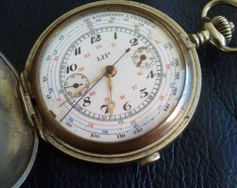 LIP CHRONOGRAPHE SAVONETTE France Pocket Watch, 1920's Lip France Cgronographe Tachimeter Steel Case Pocket Watch, Chronographe Pocket Watch