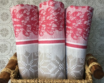 Kitchen linens Cotton Towel Dishcloth Dish Washcloth Bright Doublesided Pink Mothers day Floral Jacquard Stonewashed linen towel Easter Gift