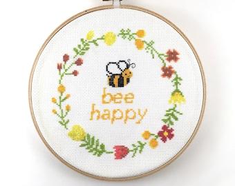 Cross Stitch Pattern, Quote Cross Stitch Pattern, Bee, Pun xstitch, Beginner Cross Stitch, Bee Happy, Inspirational, Counted Cross Stitch