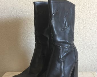 Women's Size 10 - Vintage 90s Black Floral Go-Go Boots ~ Who Cares
