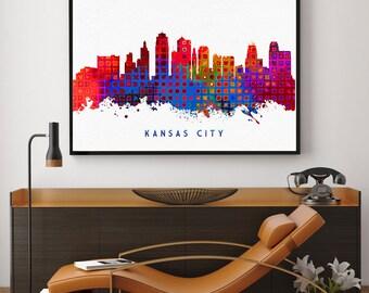 Kansas City Skyline Print, Kansas City Art, Kansas City Painting, Kansas City Wall Decor, Watercolor Kansas City, Missouri Art (N159)