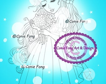 Digital Stamp, Digi Stamp, digistamp, Summer Bride by Conie Fong, Coloring Page, girl, flower, bride, birthday, Mother's Day