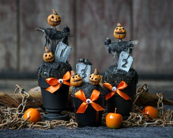 Pumpkin Scarecrow Trophies - Halloween Decor - Costume Contest Graveyard Trophy - Party Favors - Candy Gift Cups - Halloween Decoration