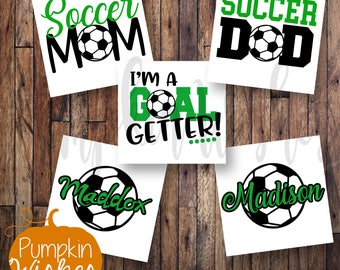 Soccer decal/Soccer Mom/Soccer Dad/Soccer Name Decal/Goal Getter Decal/Sports Decal/School Mascot Decal/Yeti cup decal