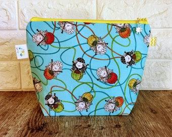 Sheep Project Bag, Knitting Project Bag, Knitting Bag, Knitting Pouch, Yarn bag, Crochet project bag, Knitting Tote Bag