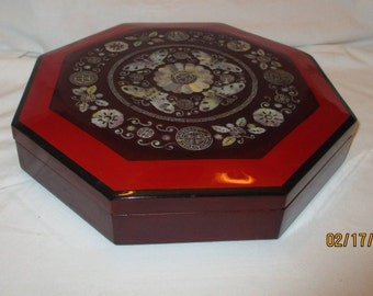 Vintage Octagon Wood Tone & Mother Of Pearl 9 Section  Covered Tray Relish or Serving Tray made  in Japan