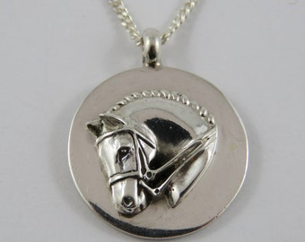 """Sterling Silver Horse Pendant With A 20"""" Curb Link Chain"""