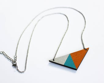 Geometric necklace, triangle wooden necklace, turquoise necklace, minimalist necklace, triangle pendant, modern jewelry, colorful necklace,