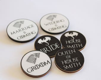 Game of Thrones Inspired Wooden Badges - Themed Wedding Guest Favours - GOT Party Brooch - Fantasy Weddings - Bride and Groom Custom Badge