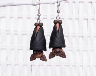 Bat Earrings, Polymer Clay Bat Earrings, Handmade Clay Bat Earrings, Flying Fox Earrings, Animal Clay Earrings, Halloween Earrings, Bat Clay