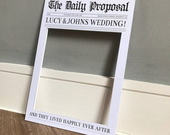 Personalised Newspaper Style Frame Prop | Perfect for weddings & parties! | 2 sizes available