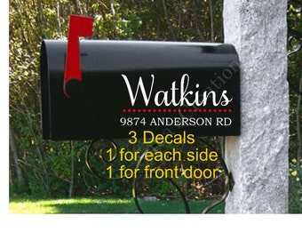 Mailbox Vinyl DecalLarge MailboxCustom Name And AddressSet - Custom vinyl decals for mailbox