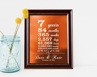 7th Anniversary Gift, Real Copper foil, 7 Year Together, for Husband Wife, Year Months Weeks Days Hours, Personalized Print - PA1001