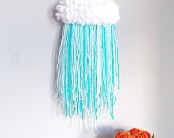 Cloud weaving / rain cloud art / abstract weaving / fluffy cloud / nursery weaving / cloud design / cloud wall hanging / cloud decoration