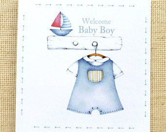 Welcome Baby Boy Card,  Cute New Baby Card, Custom Baby Card, New Baby Boy Card, Baby Boy Congratulations Card, Baby Congratulations Card