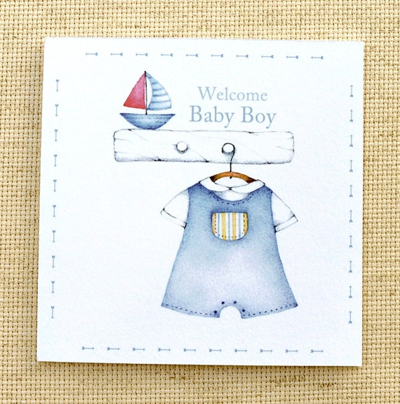 Welcome Baby Boy Quotes For Newborn: Welcome Baby Boy Card Cute New Baby Card Custom Baby Card