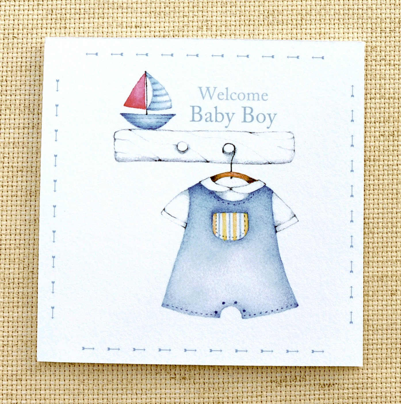 Welcome Baby Boy Card Cute New Baby Card Customized Baby