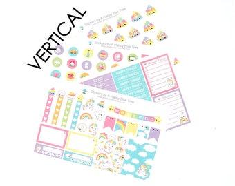Happy Unicorn Rainbow Sticker Set VERTICAL Erin Condren Life Planner ECLP Mambi Kawaii Cute Weekly Kit Headers Flags Full Box Reminders