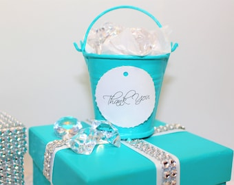TIFFANY WEDDING FAVOR Metal Buckets, Themed Party, Wedding Favor, Sweet Sixteen, Gifts for Guest, Thank you, Bling Diamond Gems