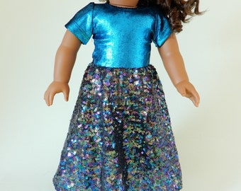 18 inch doll clothes american, Girl doll clothes, 18 inch doll dress, American girl dress, Doll christmas dress, Sparkling party dress doll