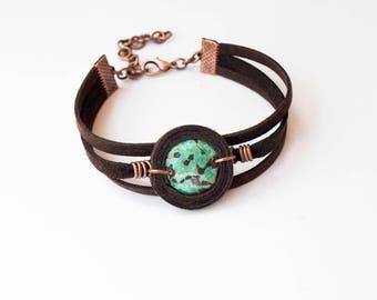 Charm gift patina Adjustable bracelets gift Copper jewelry charm Women bracelets jewelry Patina copper bracelets Turquoise copper jewelry