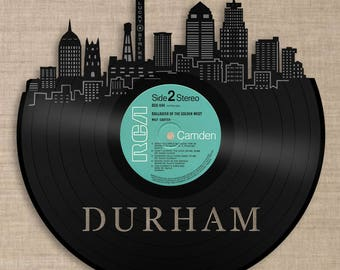 Durham Skyline Durham Cityscape Durham Wall Art Vinyl Record Art Unique Travelers Gifts Durham City Skylines Art Travelers gift Home Decor