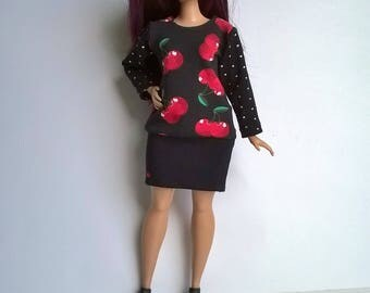 Red cherries on a black background, white suitable for curvy Barbie dotted sleeve and a skirt sewn to