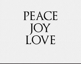 peace joy love svg dxf jpeg png file stencil monogram frame silhouette cameo cricut clip art commercial use