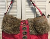 Rare Authentic Coach Soho Pink Rabbit Fur Ski Hobo 9443 (Hard-to-Find)