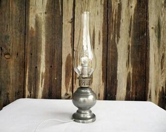 Vintage lamp in pewter - Vintage lighting - Pewter lamp - Tin lamp - Zinn Lamp