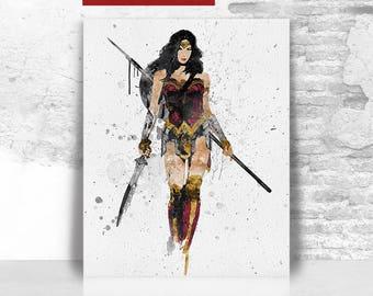 Wonder Woman print, Wonder Woman poster, Justice League print, DC comics print, Geekery wall art, Gaming decor, Gift for him, FamouStars