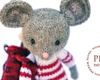 Toy knitting pattern-Gray mouse-knitted toy pattern-Amigurumi-ElvesWorld toy-knit patterns-mouse golfer pattern