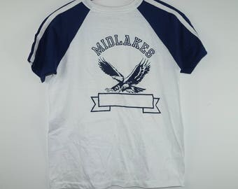 Deadstock Vintage 1970s PE Physical Education Gym Class Midlakes Eagles High School Jersey Tee T Shirt -  Medium
