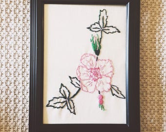 Crewel Embroidered Pink Flower with Black Frame