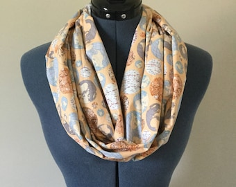 Globe Infinity Scarf / World / Infinity Scarf / Traveler / Scarf / Map / Travel / Vacation / Road Trip / World Travel / Gift / Topography