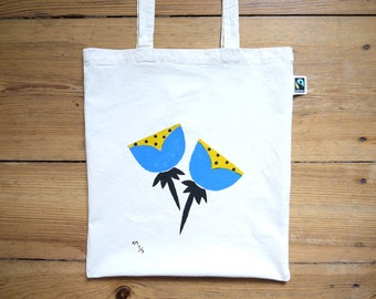 Hand Painted Floral Print Tote Bag - Limited Edition