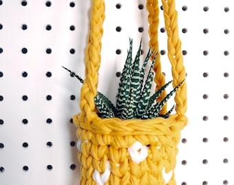 Indoor hanging planter, orange yellow planter, cactus planter, succulent planter, indoor plants, small house plants, pegboard plant hanger