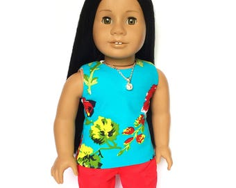 Tank Top, Reversible, Tropical Flowers, Floral, , Turquoise Blue, Red, White, American, 18 inch Doll Clothes, Summer