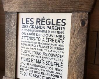 """Plaque """"Règles des Grands-Parents"""""""
