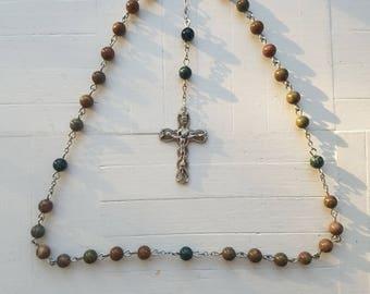 Anglican Prayer Beads Protestant Christian Rosary- Stone & Kambala Jasper Beads