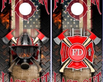 Wicked Wire American Firefighter First IN LAMINATED Cornhole Wrap Bag Toss Decal Baggo Skin Sticker Wraps