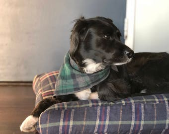 Forest Green Plaid Dog Bed // Large