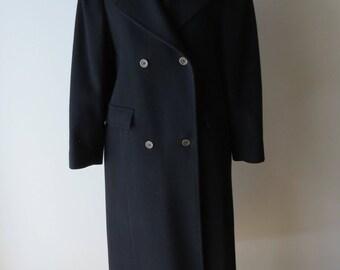 1970s black double breasted coat/ 1970s pure virgin wool coat/ vintage coat